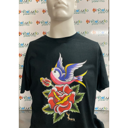 "T-Shirt ""Swallow and Rose"""